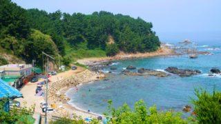ドラマ「嵐の中へ」ロケ地となったハート型ビーチ(韓国蔚珍郡)